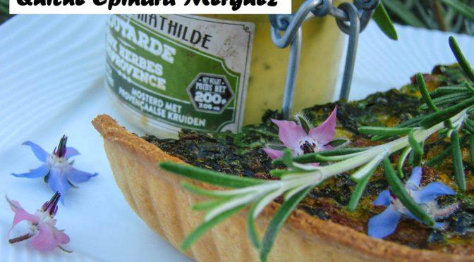 Tarte salée : Épinard Merguez moutarde.