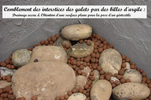 Comblement des interstices des galets avec billes en argile