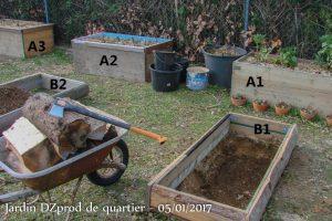 Rondins sur 20cm pour le premier bac bas B1 - jardin de quartier - DZprod - 05-01-2017