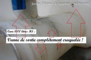 Vanne cuve 1000 litres irréparable - Jardin de quartier - 02-02-2017
