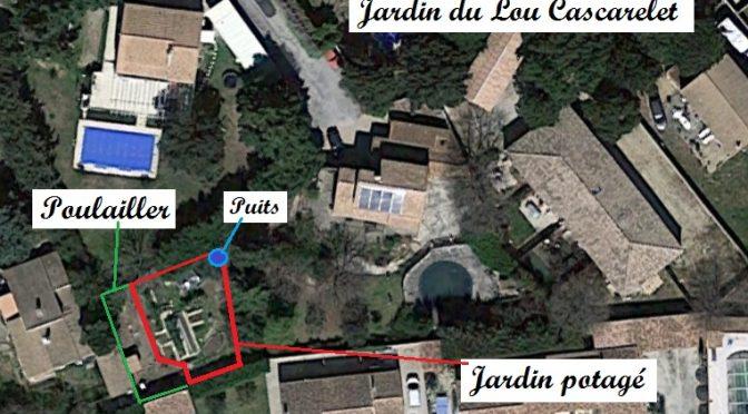 Plan du jardin et poulailler partagé du Lou Cascarelet