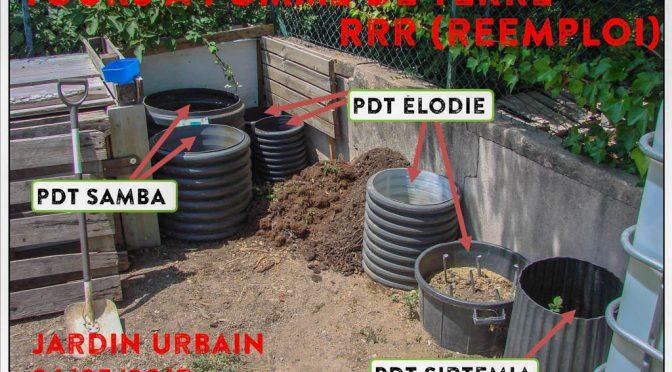 Tour à pomme de terre – jardin urbain – réemploi canalisation de chantier BTP – Rochefort du Gard