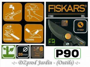 Logogramme sécateur P90 Fiskars - ref 111967 - DZprod Jardin