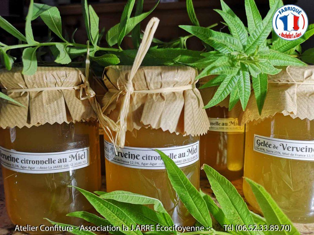Gelée de verveine citronnelle au miel de France toutes fleurs - Association la JARRE Écocitoyenne